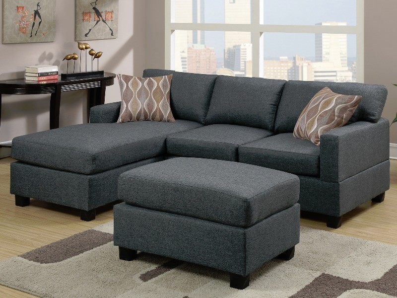 Delicieux Mid Size Blue Grey 3 PC Sectional Sofa