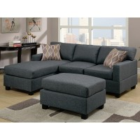 Mid-Size Blue Grey 3-PC Sectional Sofa