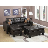 Reversible Compact Espresso Sectional W/ Ottoman