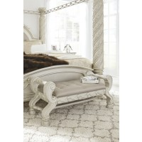 Cassimore - Pearl Silver - Large UPH Bedroom Bench