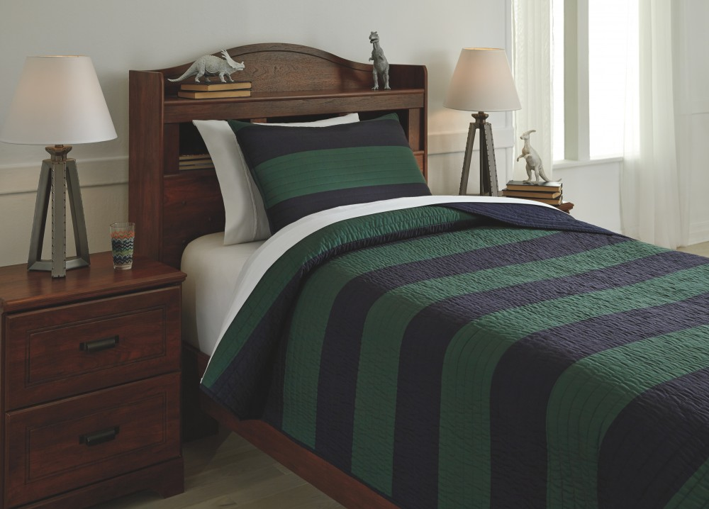 Reggie - Blue/Green - Twin Coverlet Set
