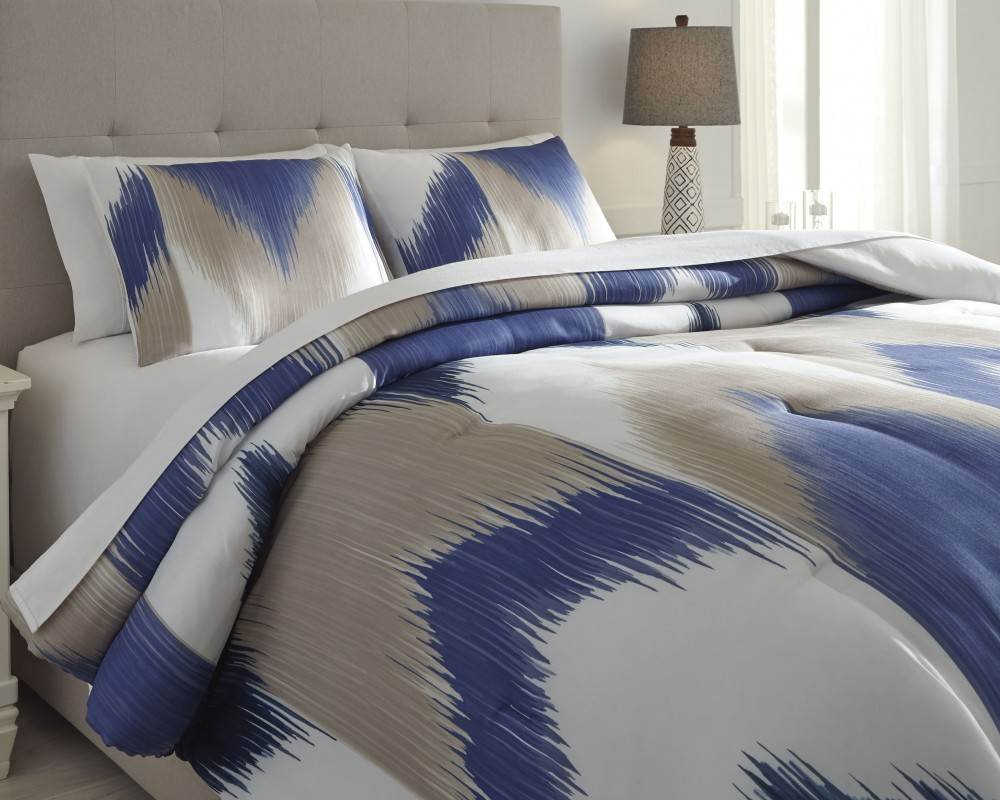 Mayda Blue Off White King Comforter Set Q424003k