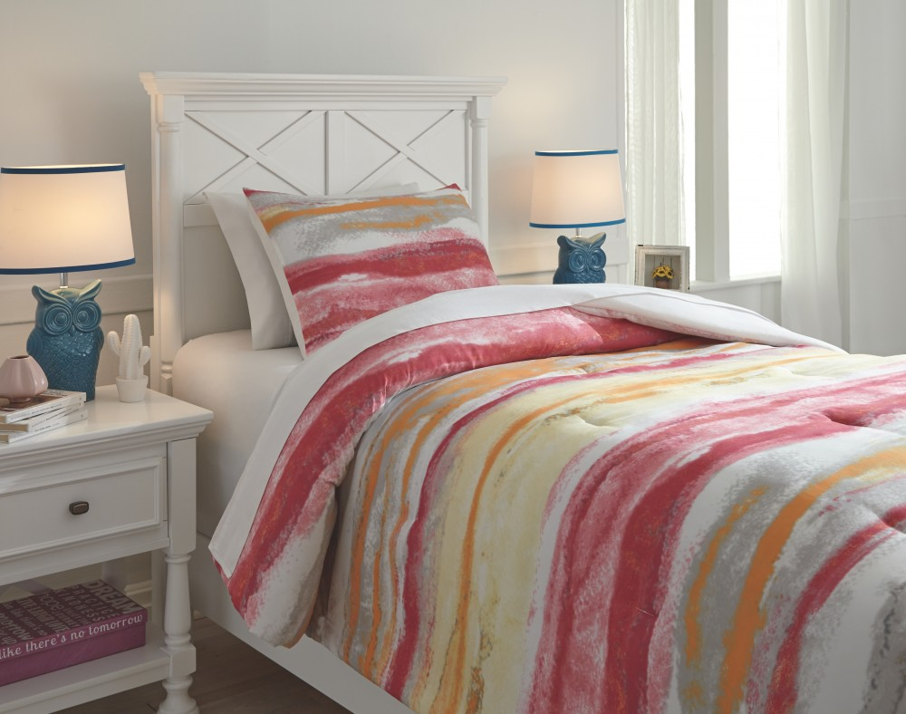 Tammy - Pink/Orange - Twin Comforter Set