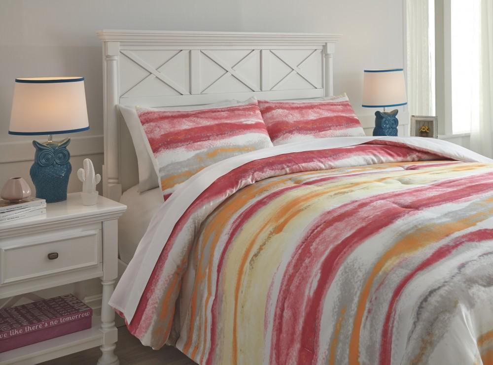 Tammy - Pink/Orange - Full Comforter Set