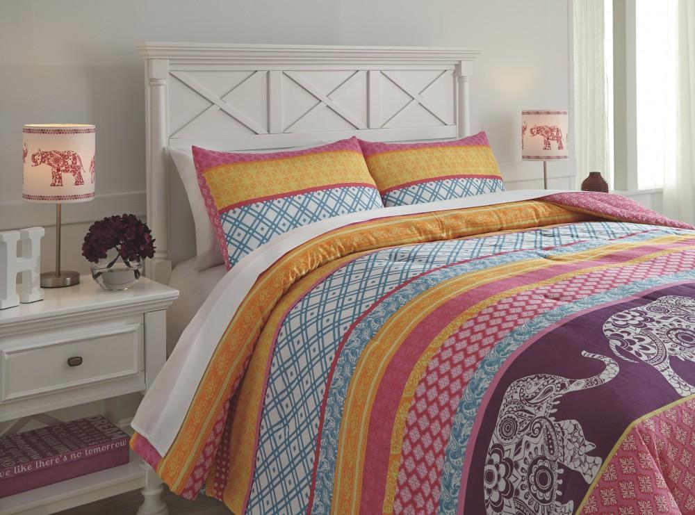 Meghana - Pink/Orange - Full Comforter Set