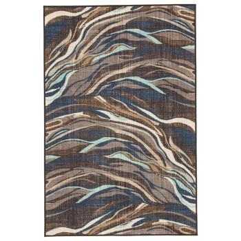 Jochebed Blue Brown Medium Rug R402792 Rugs