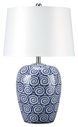Malini - White/Blue - Ceramic Table Lamp (1/CN)