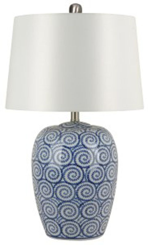 Malini   White/Blue   Ceramic Table Lamp (1/CN)