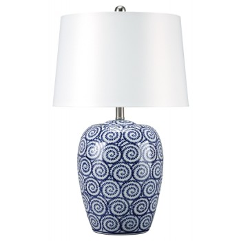 Malini - White/Blue - Ceramic Table Lamp (1/CN)