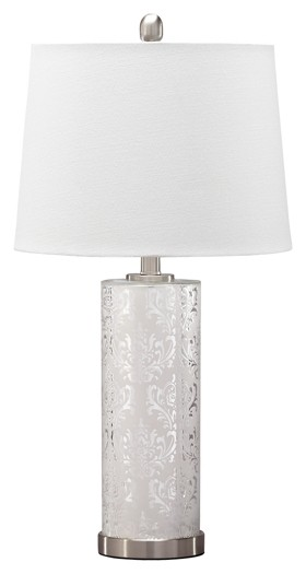 Nichole - Silver Finish - Glass Table Lamp (2/CN)