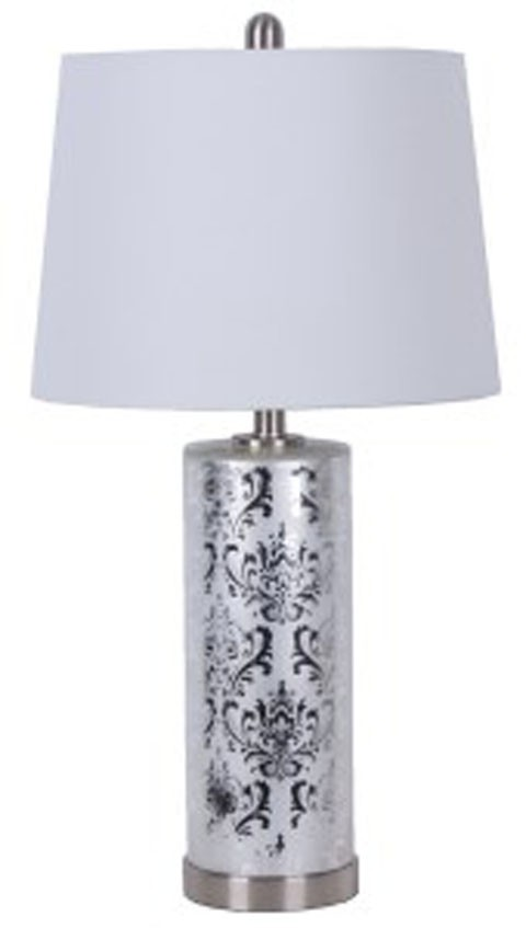 Nichole   Silver Finish   Glass Table Lamp (2/CN)