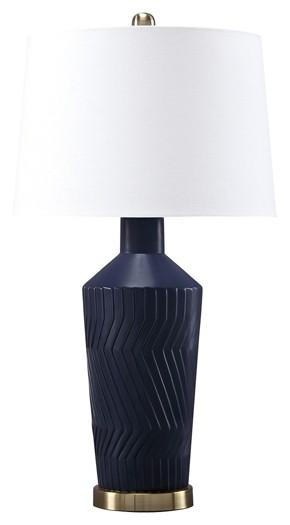 Leroi Blue Ceramic Table Lamp 2 Cn L100604 Lamps Brown