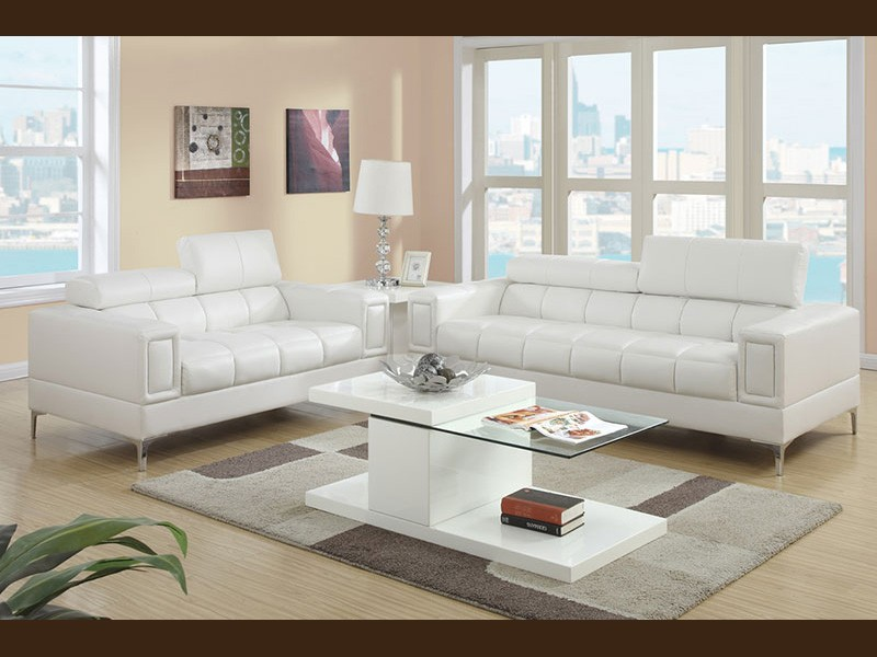 Terrific 2 Piece Modern White Bonded Leather Sofa And Love Set Gamerscity Chair Design For Home Gamerscityorg