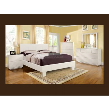 Elegant White Bonded Leather Bed