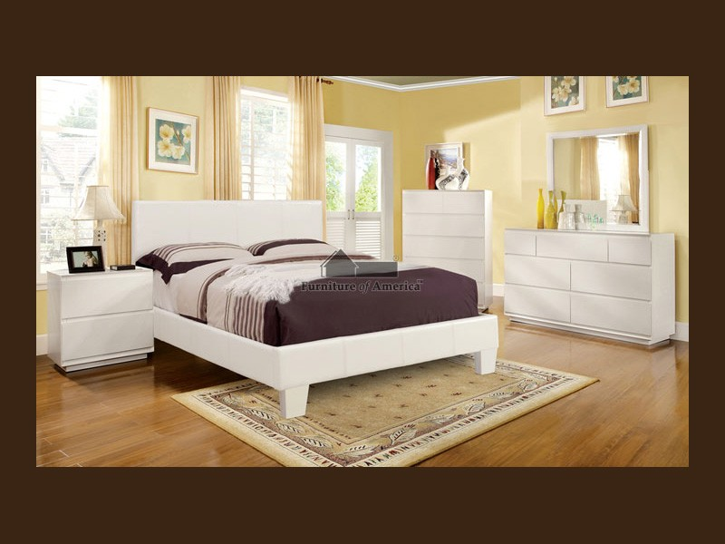 Elegant White Bonded Leather Bed