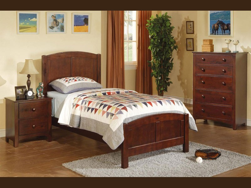 Medium Brown Twin Bed