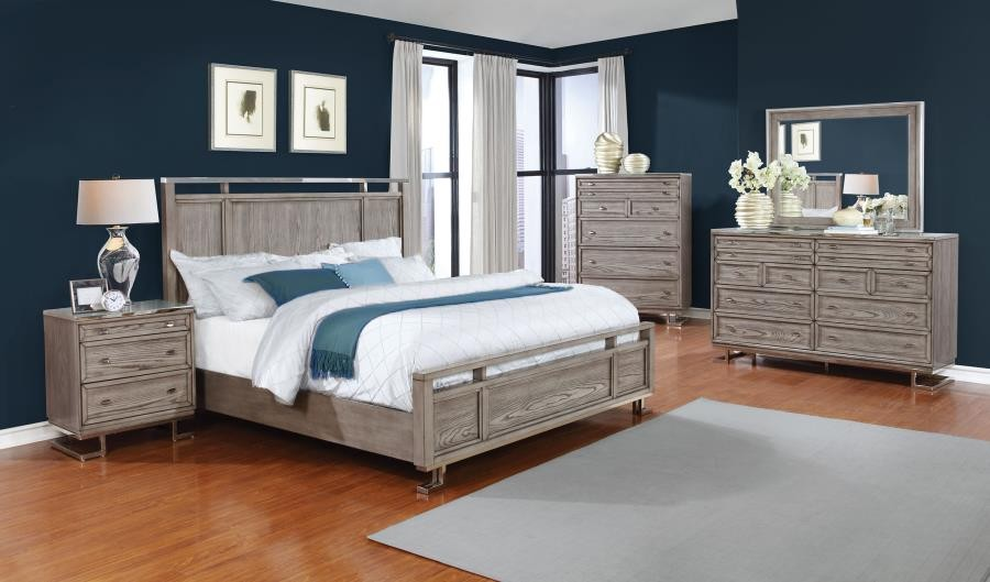The Johnathan Bedroom Industrial Shell Queen Four Piece Set