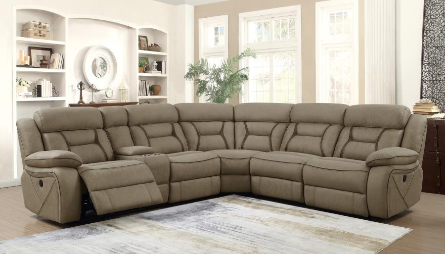 HIGGINS MOTION COLLECTION - Camargue Casual Tan Motion Sectional