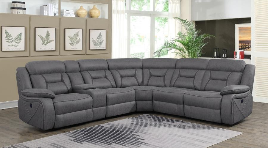 HIGGINS MOTION COLLECTION - Camargue Grey Reclining Power Sectional