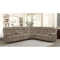 HIGGINS MOTION COLLECTION - Camargue Tan Reclining Power Sectional
