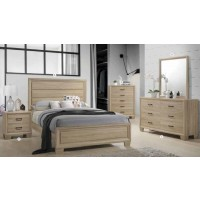 Vernon Transitional Whitewashed Oak Eastern King Five-Piece Set