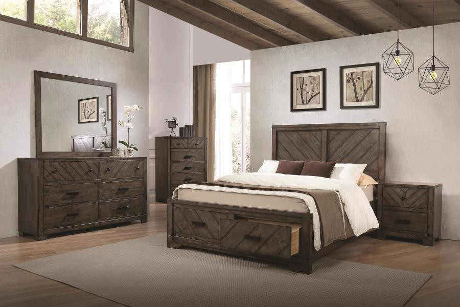 Lawndale Rustic Weathered Grey California King Five Piece Set