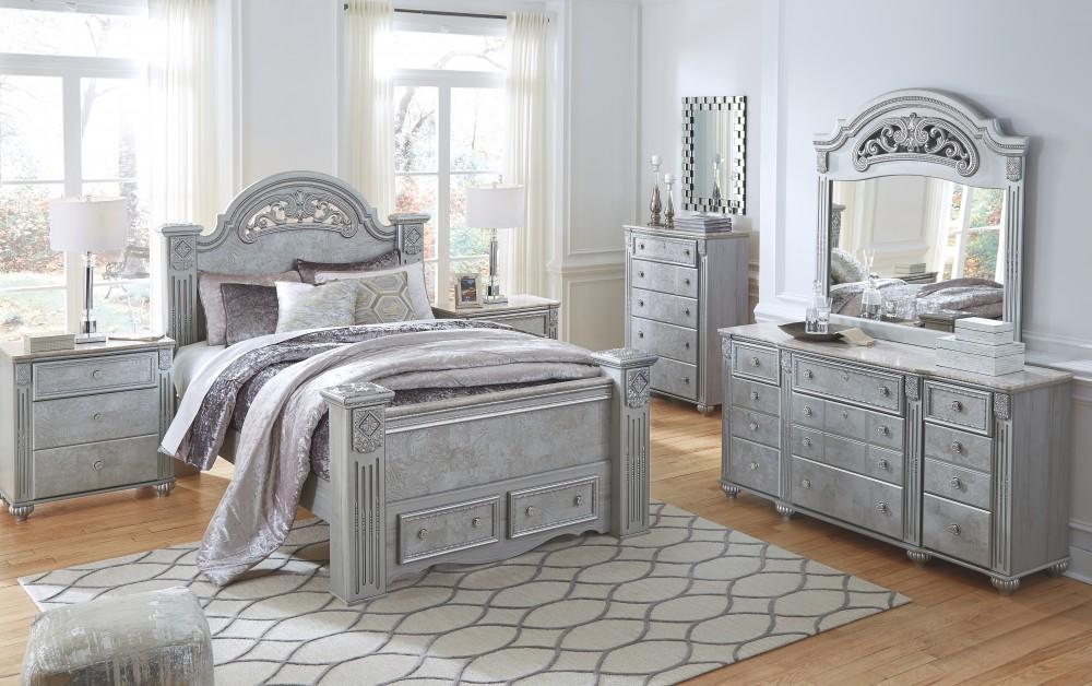 Zolena silver dresser b357 31 bedroom dressers for Pruitts bedroom sets