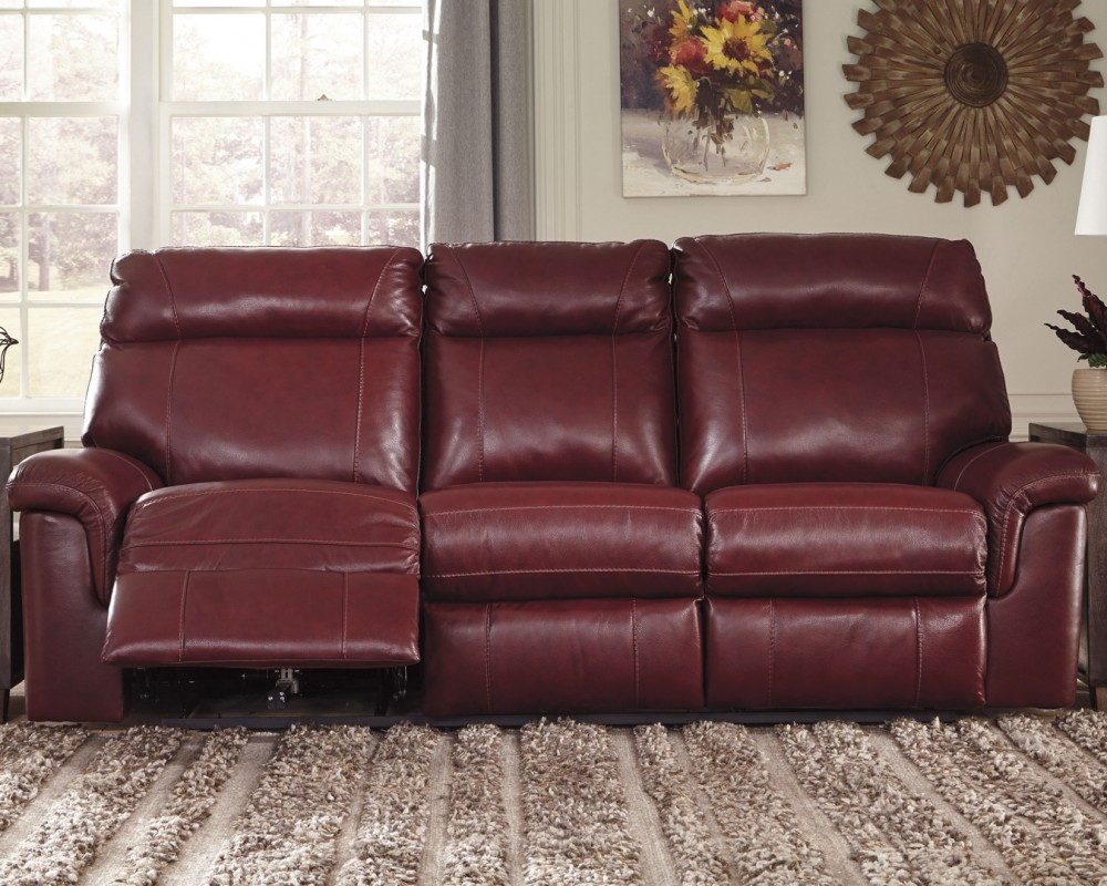 Duvic - Crimson - PWR REC Sofa with ADJ Headrest