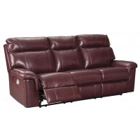 Duvic - Crimson - PWR REC Sofa with ADJ Headrest