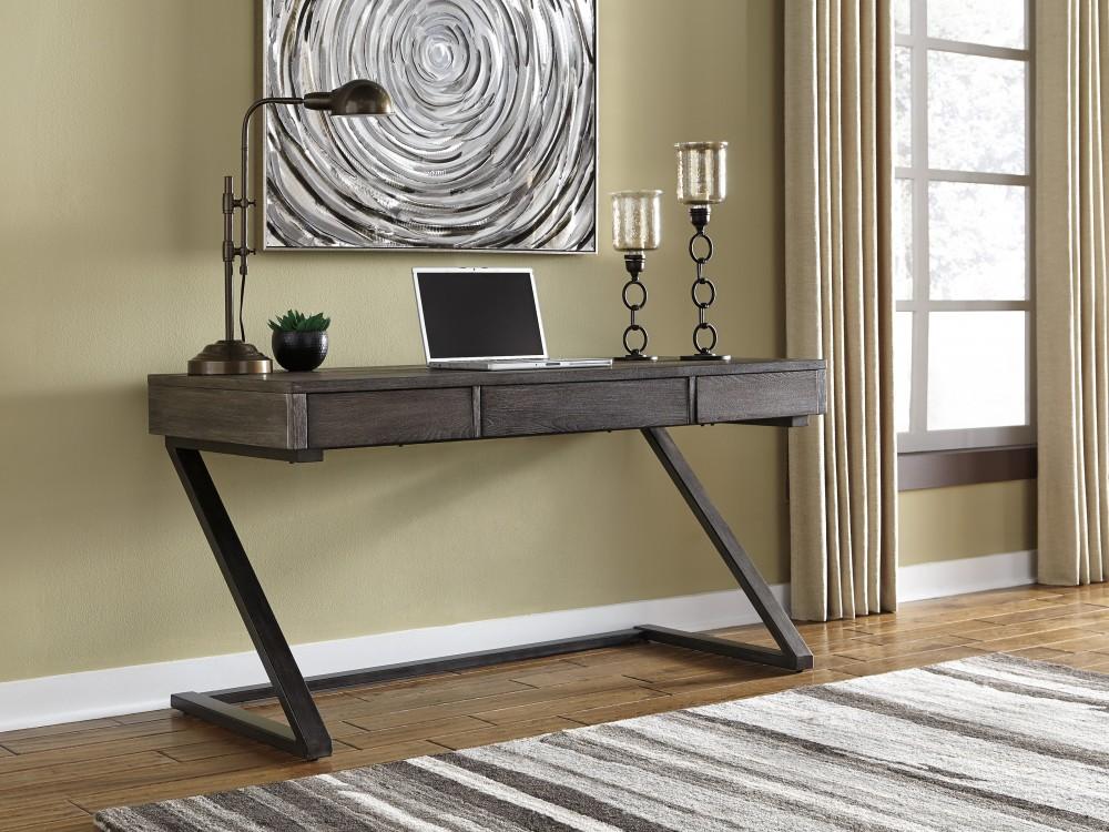 Harpoli   Grayish Brown   Home Office Desk