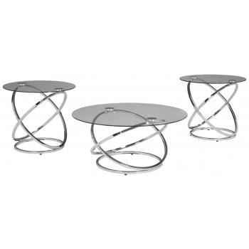 Hollynyx - Chrome Finish - Occasional Table Set (3/CN)