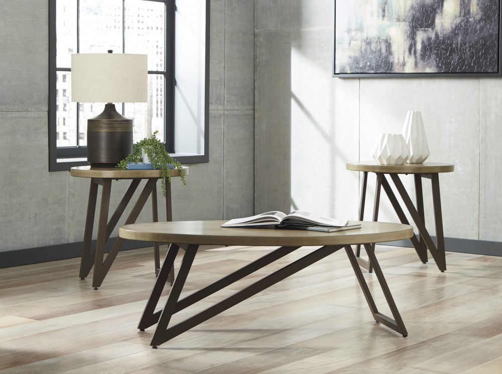 Dougetti - Brown/Black - Occasional Table Set (3/CN) & Dougetti - Brown/Black - Occasional Table Set (3/CN)   T298-13 ...