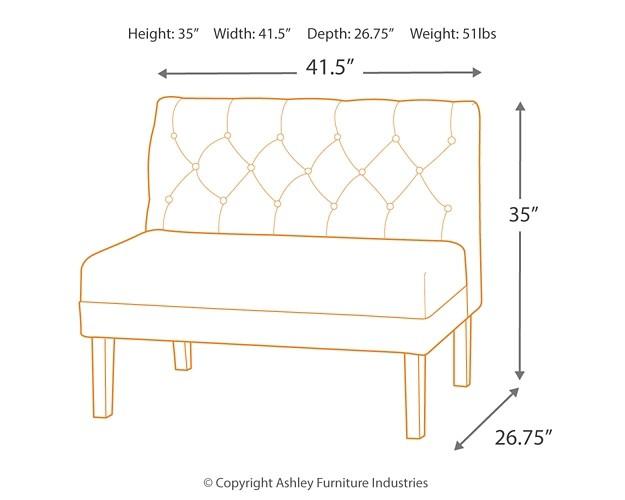 Tripton Medium Brown Large Uph Dining Room Bench