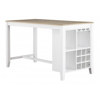 Gardomi - White/Light Brown - RECT Dining Room Counter Table