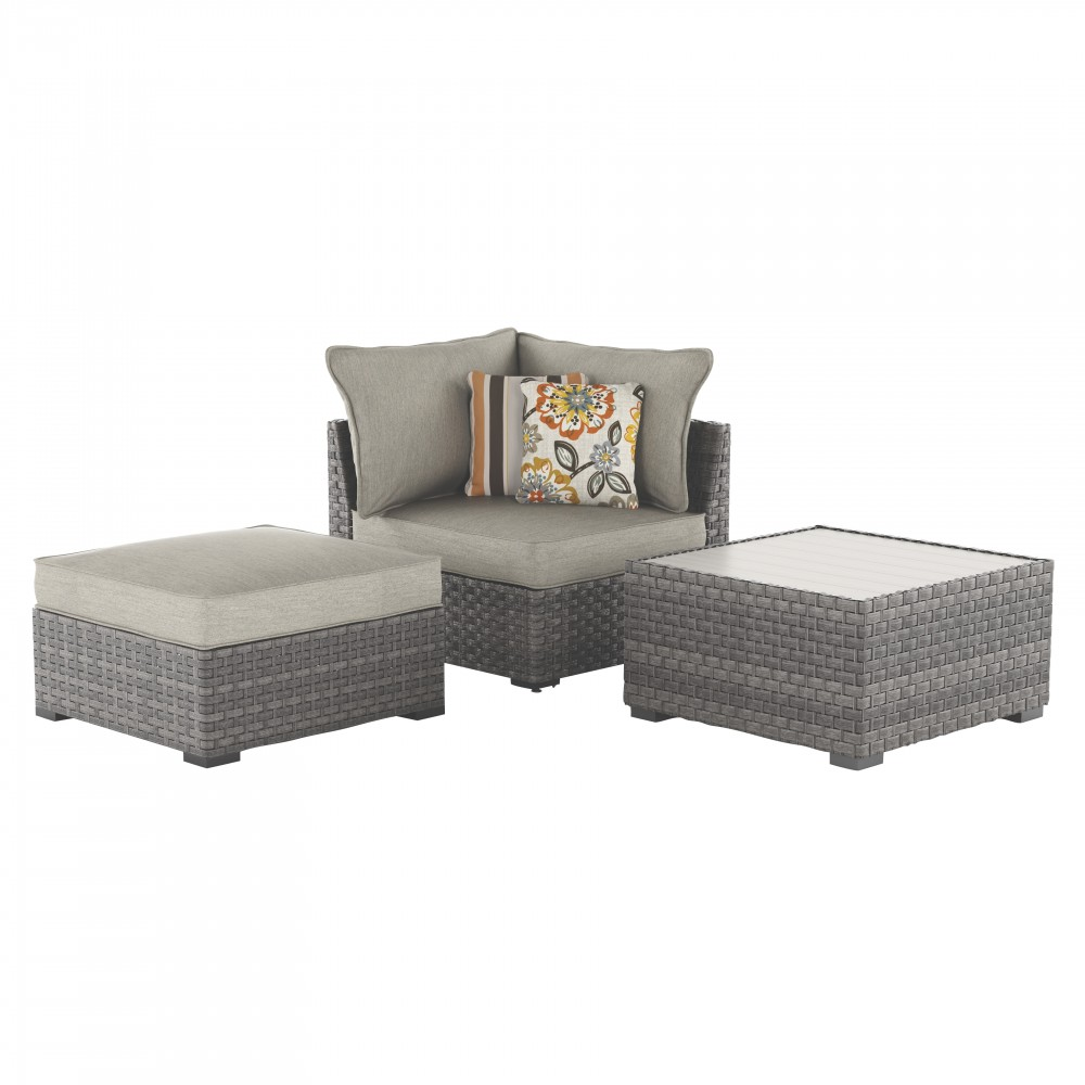 Spring Dew Corner Chair/Ottoman/Table (Set of 3)