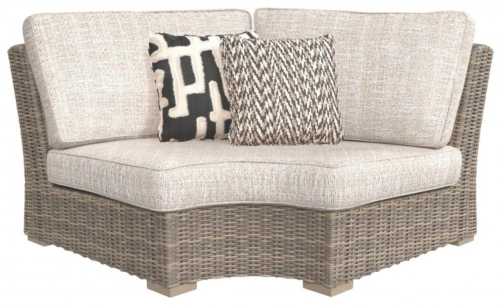 Beachcroft   Beige   Curved Corner Chair W/Cushion