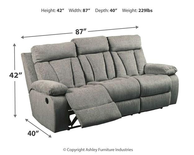 Mitchiner Fog Reclining Sofa W Drop Down Table