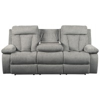 Mitchiner - Fog - Reclining Sofa w/ Drop Down Table