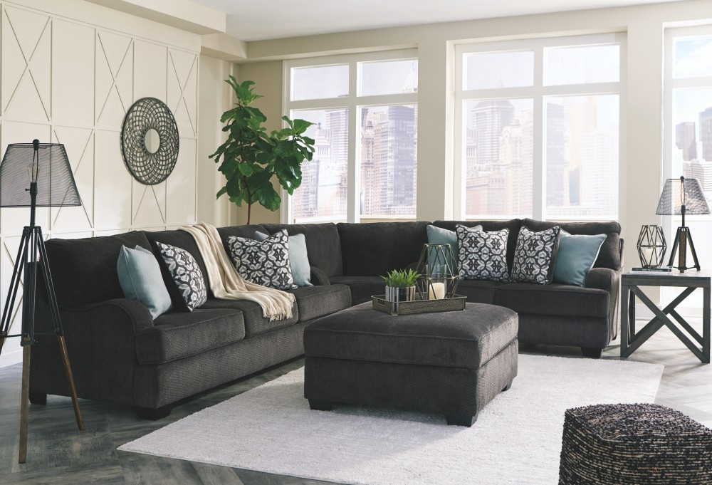 Charenton charcoal sofa 1410138 sofas price busters furniture for Charcoal living room furniture