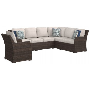 Salceda - Beige/Brown - Sofa SEC/Chair w/CUSH (3/CN)