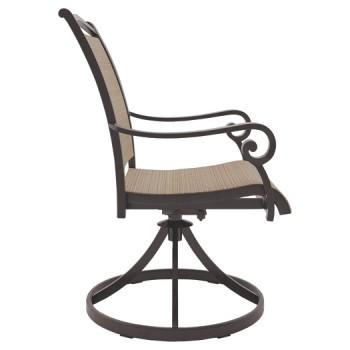 Strange Bass Lake Beige Brown Sling Swivel Chair 2 Cn Creativecarmelina Interior Chair Design Creativecarmelinacom