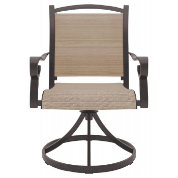 Astounding Bass Lake Beige Brown Sling Swivel Chair 2 Cn Customarchery Wood Chair Design Ideas Customarcherynet