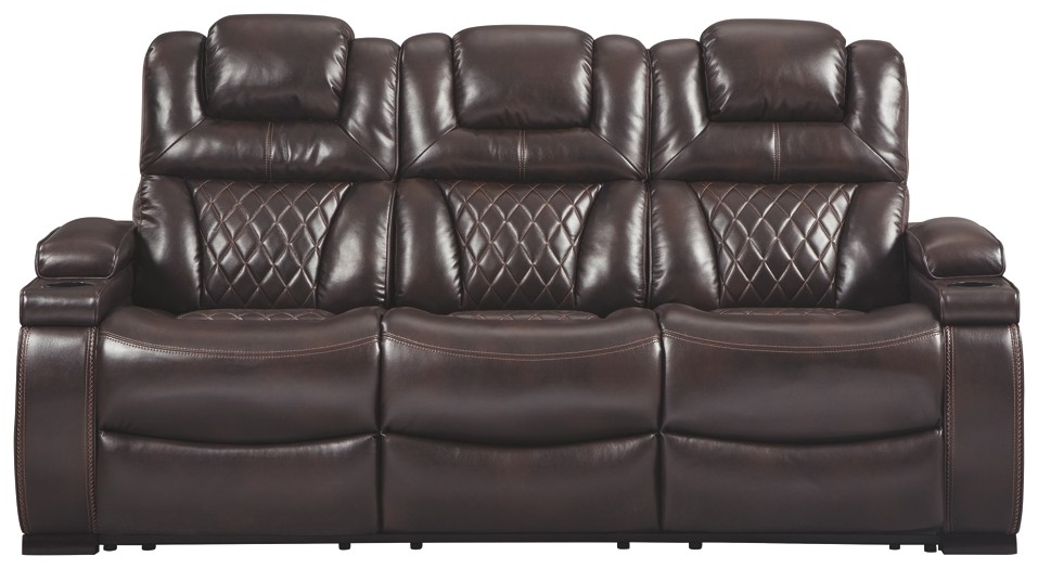 Warnerton Chocolate Pwr Rec Sofa With Adj Headrest Reclining