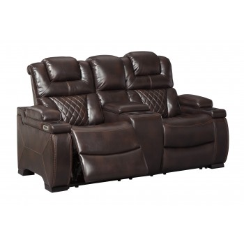 Warnerton - Chocolate - PWR REC Loveseat/CON/ADJ HDRST