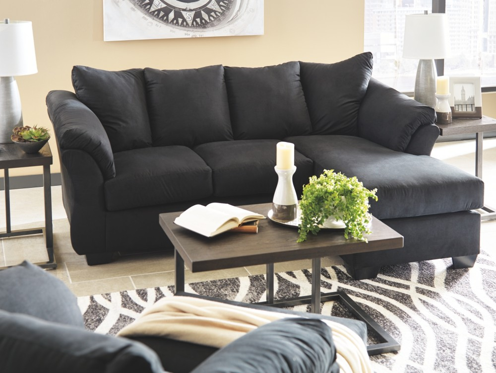 living room with chaise darcy black sofa chaise 7500818 sofas furnishu123 15177