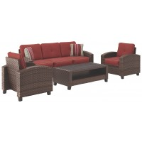 Meadowtown - Brown - Sofa/Chairs/Table Set (4/CN)