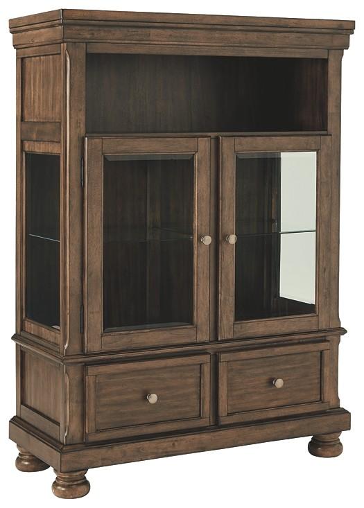 Flynnter Medium Brown Curio D719 86 Curio Cabinets