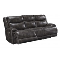 Brinlack - Gray - PWR REC Sofa with ADJ Headrest