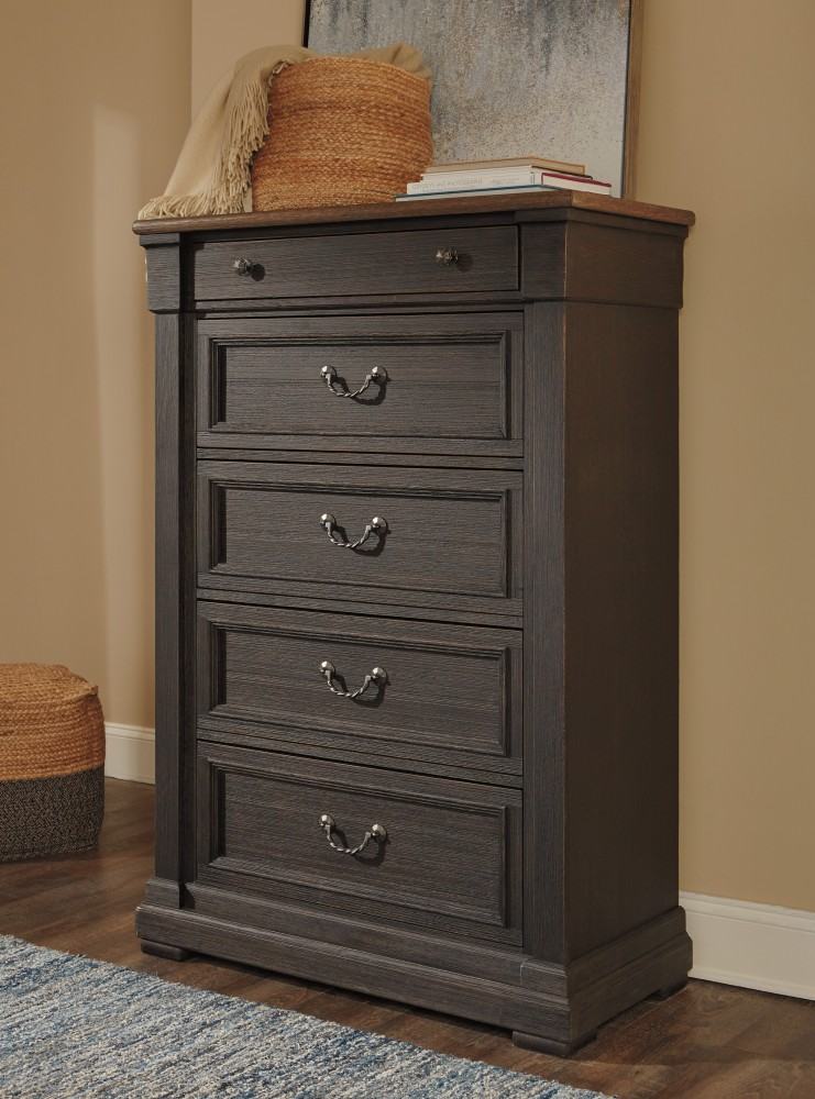 Tyler Creek - Black/Gray - Five Drawer Chest