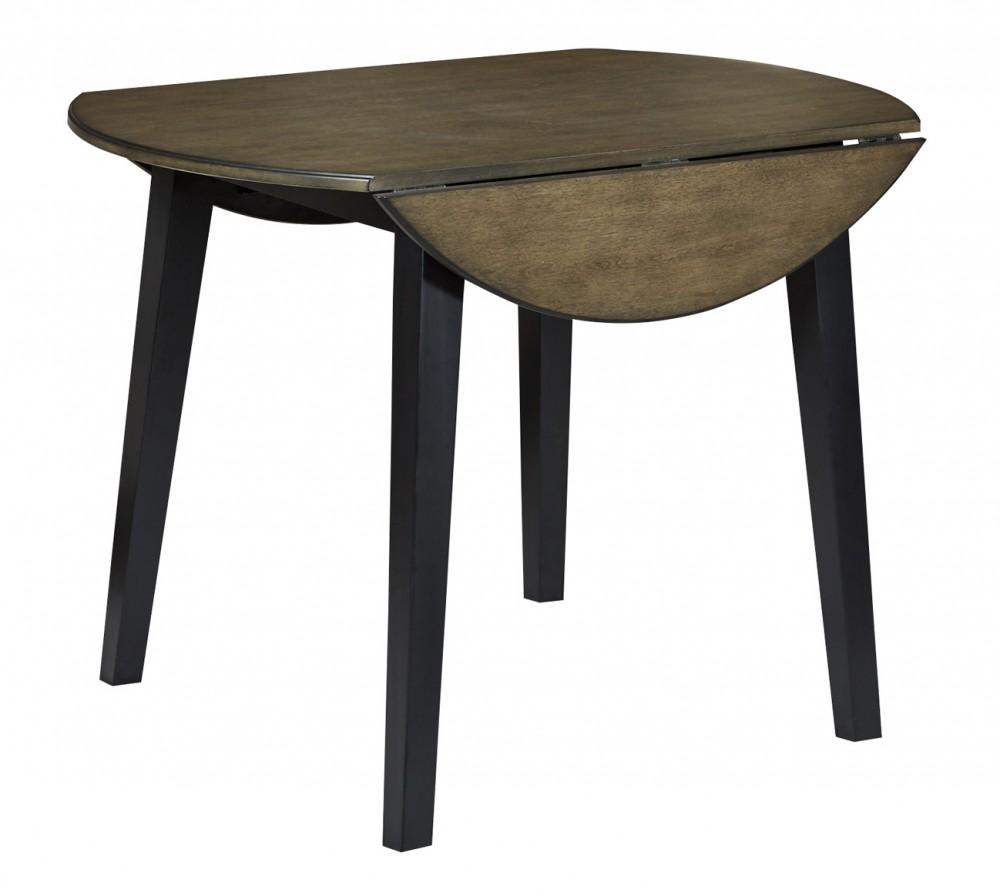 Froshburg - Grayish Brown/Black - Round Drop Leaf Table
